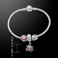 Lady Bug .925 Sterling Silver Bead Bracelet by Peter Stone