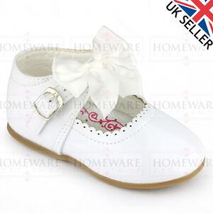 SPANISH BOW SHOES BABY GIRLS MARY JANE SHINY PATENT SHOES RED WHITE PINK UK2 UK7