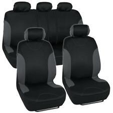 Car Seat Cover Set Fits Honda Civic Charcoal/Black Interior w/Headrest Covers