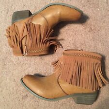 CORKY'S LADIES SZ 7, 'ARCADIA', BROWN FRINGED ANKLE BOOTS