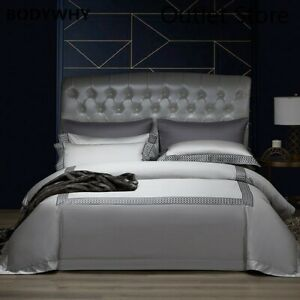 Luxury Egyptian Cotton Embroidery Cover Set Silky Bedding Set Cover Bed Sheet