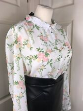 "Pretty Floral Sheer Blouse Size 20 50"" Chest Secretary Mistress CD TV BNWT"