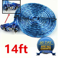 14FT Car Audio RCA Phono Lead Cable Car AMP Amplifier Install Sub Wiring 2Ch