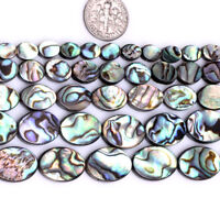 """Oval Natural Abalone Shell Loose Stone Beads For Jewelry Making Gemstone 15"""" DIY"""