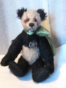"Knicerbocker Germany Panda bear 10"" Mohair fully jointed Vintage 90"" PRISTINE"