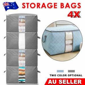 4PCS Clothes Quilt Blanket Storage Bag Fabric Organizer Foldable Zipper Bags Box