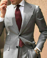 Gray Striped Wedding Groom Mens Tuxedos Business Party Suits Tailored Fit Custom