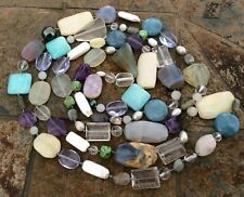 """Fine Hand-Knotted End-of-Day Multi GEMSTONE Bead Necklace Opera Length 58"""""""