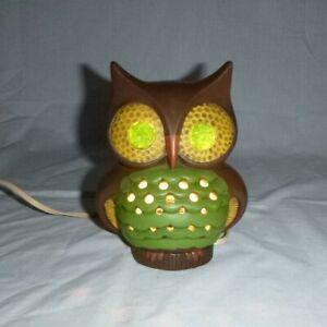 """Vtg 60s 70s MOD Ceramic Owl Night Light TV Table Lamp Brown Green Gold 6"""" H"""