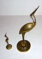 2 Vintage Solid Brass Bird Figurines Crane Heron Egret Stork Mid Century Modern