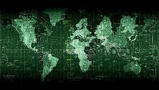 Cartel – matriz de mapa del mundo estilo (Imagen Arte Globo Atlas Código binario C++ Linux)