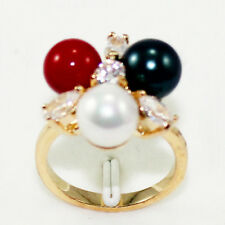 8mm Sea Shell Pearl Jade 18K Gold Plated Ring Women Christmas Jewelry Lady Gifts