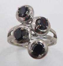 925 Sterling Silver Four Genuine Dark Blue Sapphire Ring 5.5 gr Size 8 P16