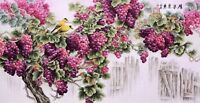 100% HANDPAINTED FINE ART CHINESE WATERCOLOR PAINTING-Grape Fruits&Bird lover