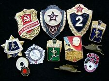 Lot Red Army Military Soviet era Russian Pin uniform Insignia Badge tank x12