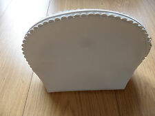 DOVE white scalloped cosmetic bag. NEW.