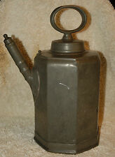 ANTIQUE SWISS PEWTER JUG WINE FLAGON KANNE DATED 1843 ENGRAVED 8 SIDED OVAL TOP