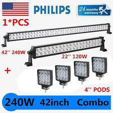 "42Inch Philips LED Light Bar Combo + 22"" + 4"" 48W PODS SUV 4WD UTE FORD TRUCK 40"