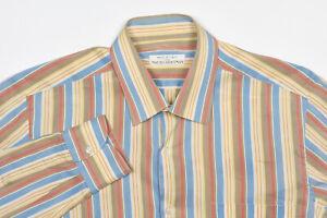 MAUS & HOFFMAN Shirt M in Sun Yellow Taupe Cornflower Stripe Cotton-Silk ITALY