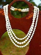 Large white faceted 8mm and 9mm bead 3 strand   NECKLACE