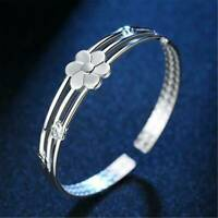 Women's Fashion 925 Sterling Silver Cuff Bangle Open Bracelet Christmas Jewelry