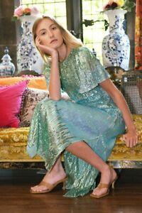 BNWT Rixo Venus Turquoise Dip Dye Midi Dress Sz XS L