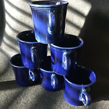 6 Cobalt Fiesta Ring Handle Coffee Mugs 3 1/2 inches tall HLC Fiesta ware