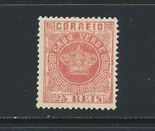 CAPE VERDE - PORTUGESE COLONIES 1870, 25Rs ROSE, VF HINGED OG Sc#4a