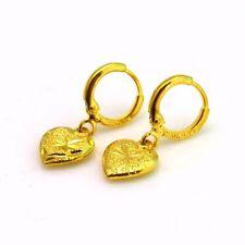 24k Yellow Gold Filled Earrings Heart Dangle Hoop GF Charm Women Fashion Jewelry