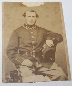 19c ANTIQUE CIVIL WAR MUSICIAN SOLDIER CDV PHOTO