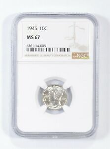 MS67 1945 - Mercury Silver Dime - NGC Graded *719