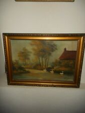 Old oil painting,{ Zwaans on the river & a farm house with trees, is signed }.