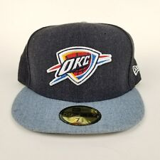 hot sale online 78d96 c028e Oklahoma City Thunder Era 59fifty Navy Blue NBA Fitted Hat Cap 7 5 8
