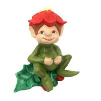 Rare Vintage Atlantic Mold Ceramic Elf Figure Elf On Holly With Berries