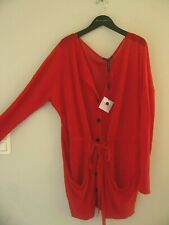 Long cardigan rouge Sarah Pacini neuf poches originales
