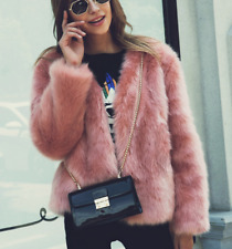 Streetwear  womens faux fur jacket winter pink short fur jacket coat outwear