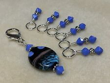 Handmade beaded Knitting Stitch Markers (SNAG FREE) with Clip Holder