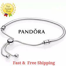 Authentic PANDORA Sterling Silver Adjustable Sliding Snake Chain Bracelet w BOX