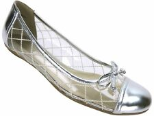 Nine West Women's Lellman Ballet Flats Clear/Argent Silver Size 6 (B, M)