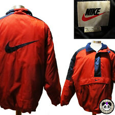 Vtg 90s Nike Pullover Coat Sz XL Big Swoosh Logo Parka Quilted Winter Red Tag