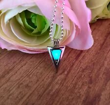 """Triangle Locket Pendant with Glow in the Dark, Glittery""""Materia"""" Orb Necklace"""