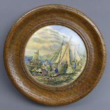 More details for victorian oak framed coloured prattware pot lid examining the nets c.1870