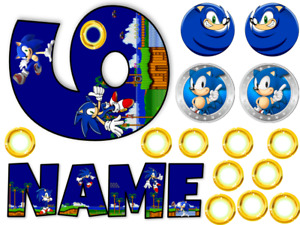 SONIC INSPIRED NAME AND NUMBER PERSONALISED CAKE EDIBLE ICING TOPPER