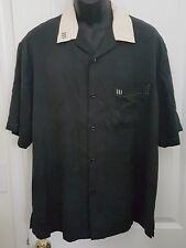 Nat Nast Luxury Originals Silk Button Down Black and Tan Panel Camp Shirt Mens L