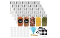 25 Pcs Glass Spice Jars Bottles Square Empty Spice Containers Shaker Lids&Labels