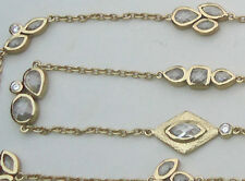 """NEW $495 Melinda Maria 14k gold-plated necklace White Cubic Zirconia 36"""" Long"""