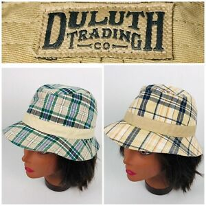 Duluth Trading Lot Of 2 Womens Bucket Hat Cap Plaids Checks 100% Cotton EUC