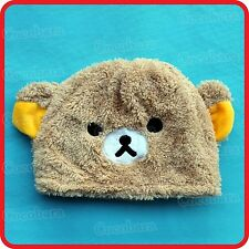 CUTE BROWN TEDDY BEAR WITH EARS ANIMAL CARTOON PLUSH FLUFFY BEANIE HAT CAP