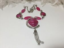 Pink long Necklace, pink and silver long necklace with plastic beads