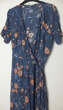 New Woman's FatFace Blue Short Sleeve Knee Length Floral Dress W Belt Size 16